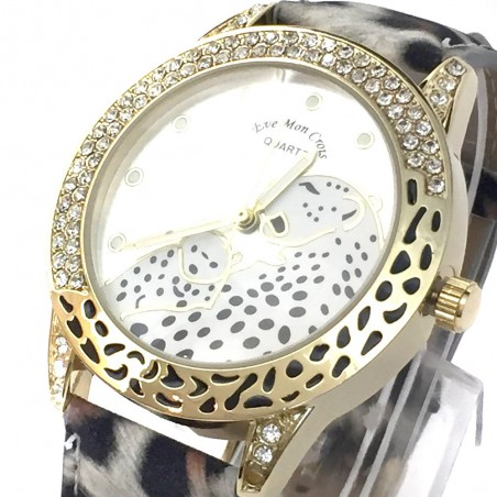 Reloj de Pulsera Oulm con correa de cuero blanco esfera negra