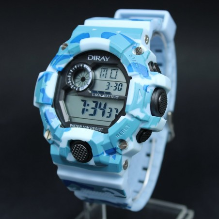 Reloj LED Azul Rpm Color Negro